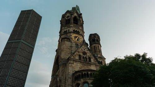 Hyper lapse of Berlin memorial church at golden hour