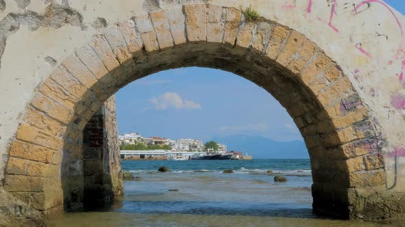 Thumbnail for Stone Bridge Through Mediterranean Sea with Cityscape on Background. Travel Background. Special