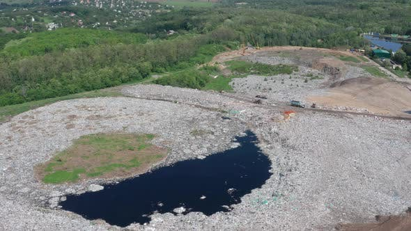 Thumbnail for Aerial View of Toxic Lake in Rural Garbage Dump