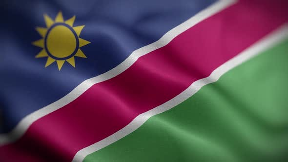 Namibia Flag Textured Waving Front Background HD