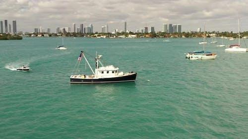 Trolling Boat In The Bay