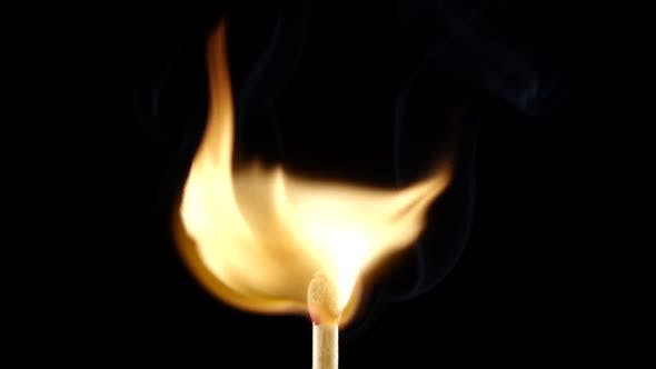Thumbnail for Matchstick Lighting and Burning Till the End on Black Background. Slow Motion