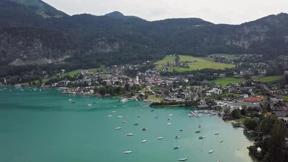 Aerial St. Gilgen, Wolfgangsee, Upper Austria