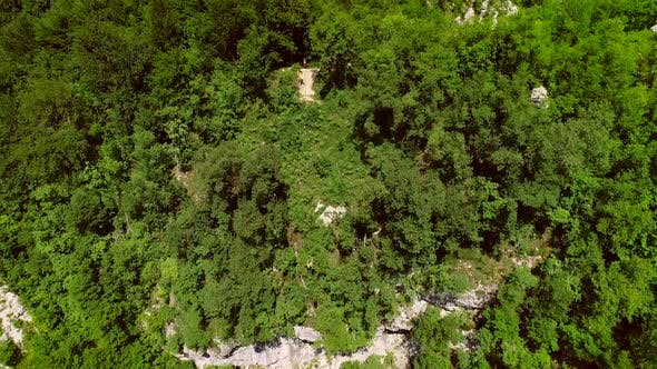 Thumbnail for Aerial view of large zip line cable a person flying crossing the forest.