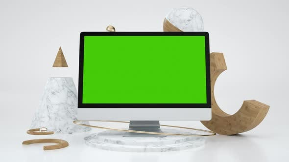 Clear Chromakey 3d Computer Mock Up for e Business or Online Education Web App