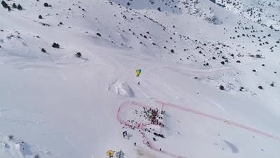 Parachute Skiing , Doing Show with Parachute Ski