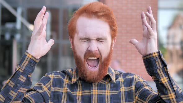 Thumbnail for Angry Redhead Beard Young Man Screaming Outdoor