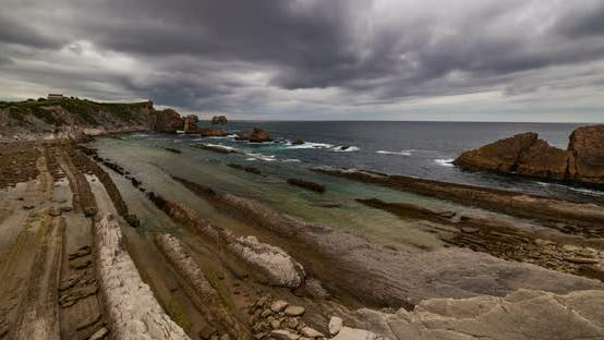 Thumbnail for Dramatic View of Playa De La Arnia, Cantabria, Spain. Timelapse.