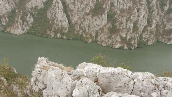 Thumbnail for Cliffs and river gorge of big river 4K 2160p 30fps UltraHD footage - Narrowest point of  Danube rive