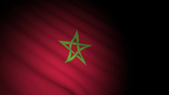 Morocco Flag Blowing in Wind