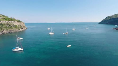 Nice Boats Sailing in Calm Sea on Summer Day, Recreational Activity for Relax