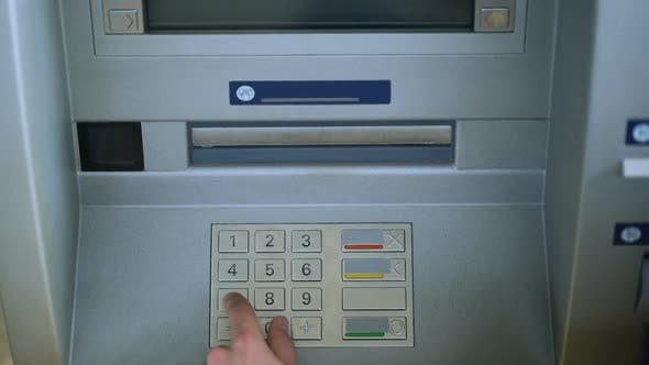 Thumbnail for Customer Completing Bank Transaction, Withdrawing Russian Rubles Money Cash