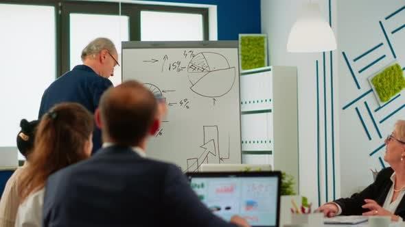 Confident Man Business Coach Giving Flipchart Presentation Training Diverse Workers