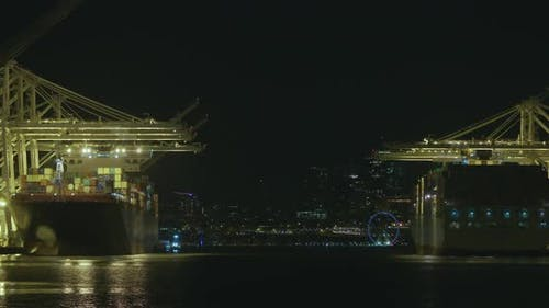 Seattle Harbor Island Shipping Terminal Cargo Ship Freighters
