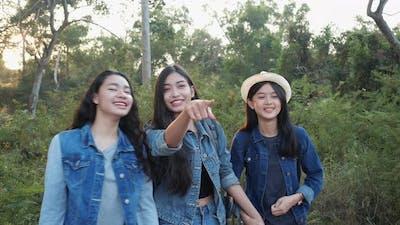 Group girl travel weekend