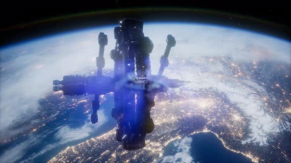 Thumbnail for Space Ship Over the Earth Seen From Space
