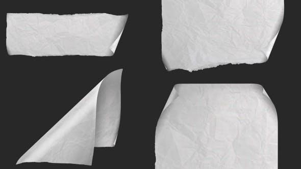 Fluttering Wrinkled plain paper - 4 clips