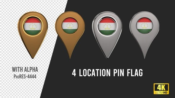 Tajikistan Flag Location Pins Silver And Gold