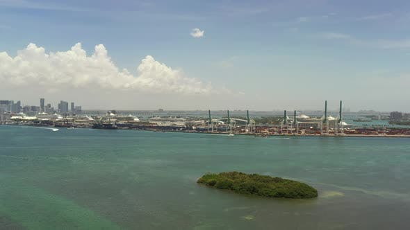 Aerial Approach Video Port Of Miami Fl