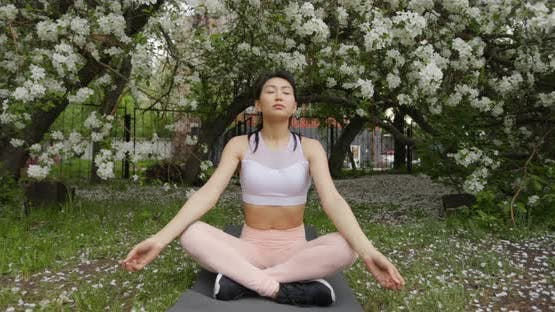 Woman Doing Yoga Pose on the Background of a Blooming Apple Tree