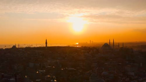 Aerial Istanbul City And Sea Sunset With Ships