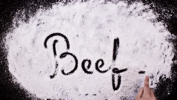 Thumbnail for Salt Writing on Black Surface Beef