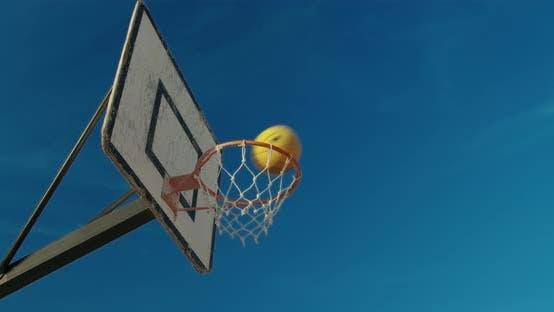 Thumbnail for Basketball Ball Hits the Hoop. Closeup.