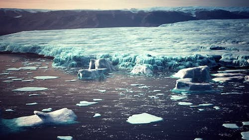 Small Icebergs and Ice Floes in the Sea Near Iceland