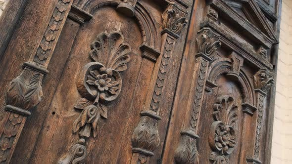 Thumbnail for Old Wooden Door of a Beautiful Ancient Building. Wood Texture Doors. Close Up