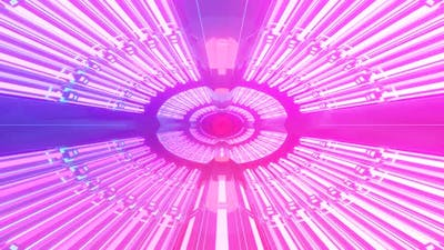 Vj Glowing neon tunnel. Mirror-shaped tunnel rotates