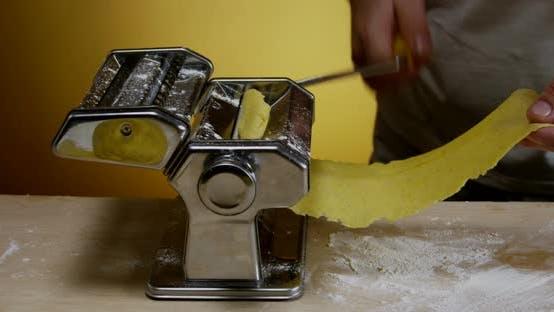 Chef Prepares Dough For Homemade Pasta 11b