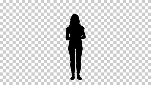Silhouette woman standing, Alpha Channel
