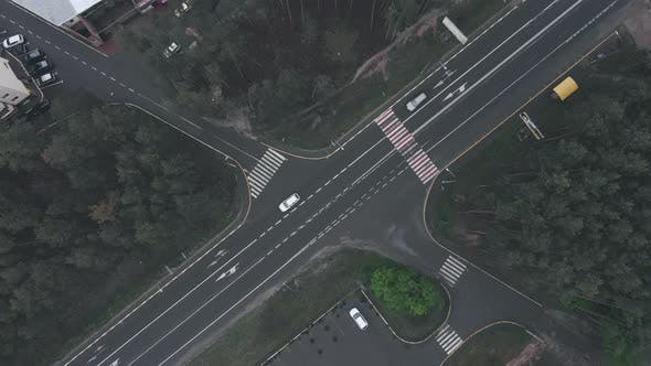 Thumbnail for Modern speedy highway with car traffic, drone top view