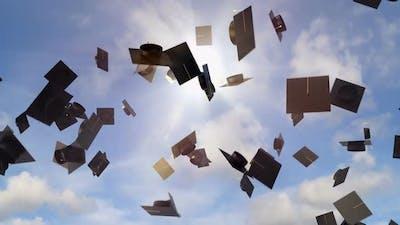 Academic Graduation Caps Throwing in the Sky Background, University Graduation