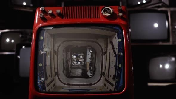International Space Station Interior on a Retro TV.