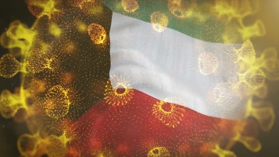 Kuwait Flag With Coronavirus Microbe Centered 4K