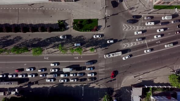 Thumbnail for Drone's Eye View Directly Above View of Traffic Jam on City Road