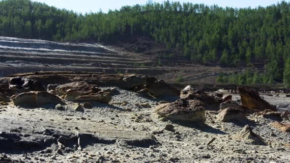 Gravel quarry in forest