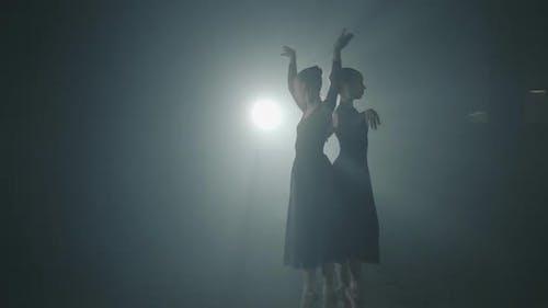 Portrait of Two Ballet Dancers Shows Classic Ballet Pas. Graceful Professional Ballerinas Dancing