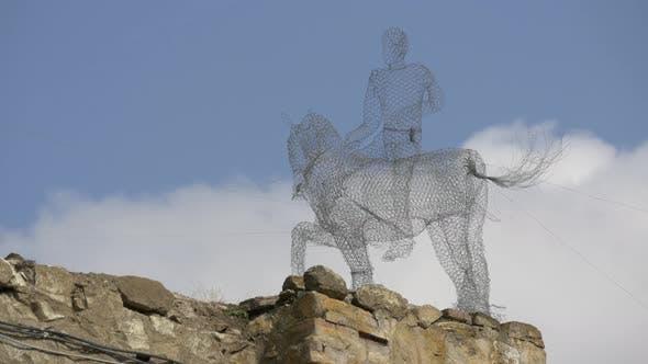 Equestrian Wire Statue
