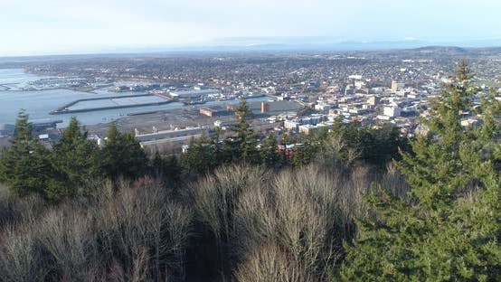 Thumbnail for Bellingham Washington Aerial Reveal Of City Landscape