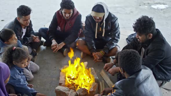 Thumbnail for Arab Refugees Sitting by Fire