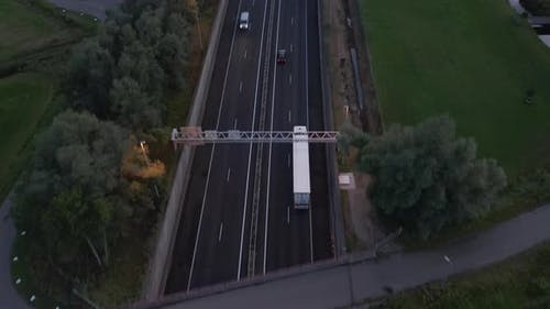 Aerial Birds Eye View of Autobahn Freeway at Sunset