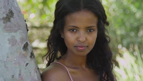 Thumbnail for Beautiful black woman smiling at camera
