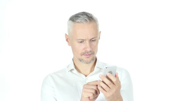 Thumbnail for Businessman Using Smartphone On White Background