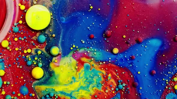 Multicolored Bubbles Of Bright Collors Moving In Paint Oil Surface Beautiful Blue Universe Of Color