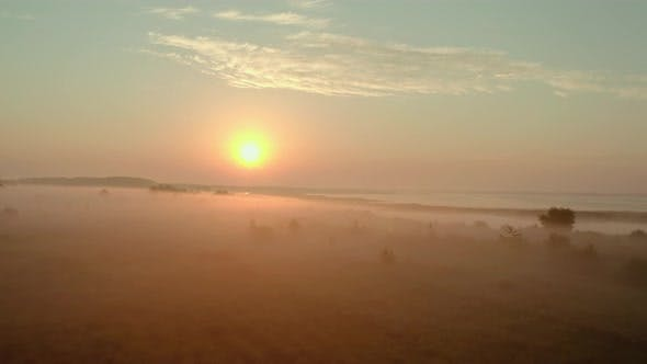 Aerial Drone View, Beautiful Misty Dawn in the Spring on the Lake