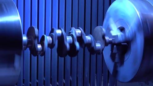 Crankshaft. Shaft Rotates in the Milling Machine
