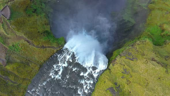 Above View of Skogafoss Waterfall, Iceland
