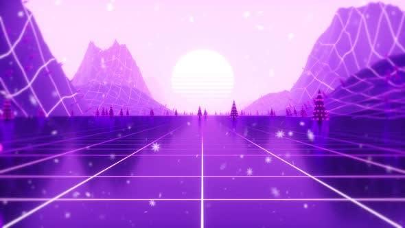 Retro 80s Christmas Animation 4k